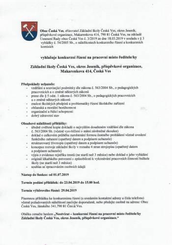 Konkurzní řízení na pracovní místo ředitele/ky