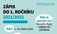 Zápis do 1. ročníku základní školy 2021/2022